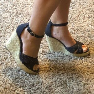 Candie's Navy Wedges with Ankle Strap